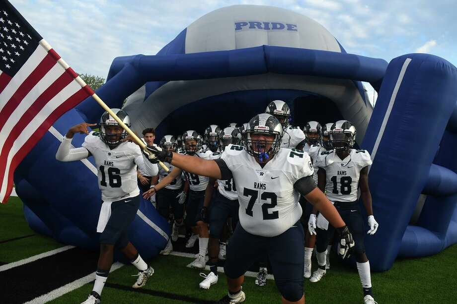 Cy Ridge senior offensive lineman Rafael Soltero (72) leads his team onto the field before the start of the Ram's District 17-6A matchup with Jersey Village at Pridgeon Stadium on Sept. 13, 2018. Photo: Jerry Baker, Houston Chronicle / Contributor / Houston Chronicle