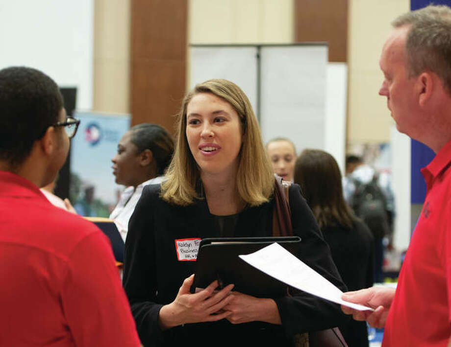 SIUE students from the College of Arts and Sciences, and Schools of Business and Engineering looked for job leads at the Career Development Center's annual October Career Fair. Photo: SIUE Photo