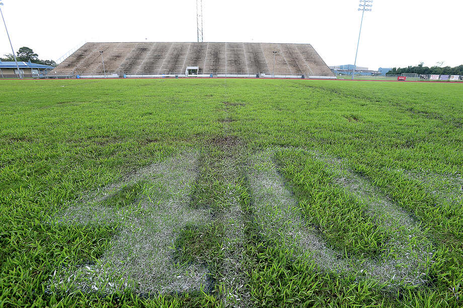 West Orange-Stark ISD is hoping to join the growing number of schools choosing to replace grass playing fields with artifical turf with the passing of a bond issue on the November ballot. After steady and heavy bouts of rain, the field conditions remain soggy and muddy, with holes in spots that coiuld present a threat of injury to players at Dan R. Hooks Stadium. It also requires continuous maintenance by groundskeepers, including repainting the lines and yard numbers on sometimes more than a weekly basis. If the school bond passes, West Orange-Stark will turf its football, baseball and softball fields.