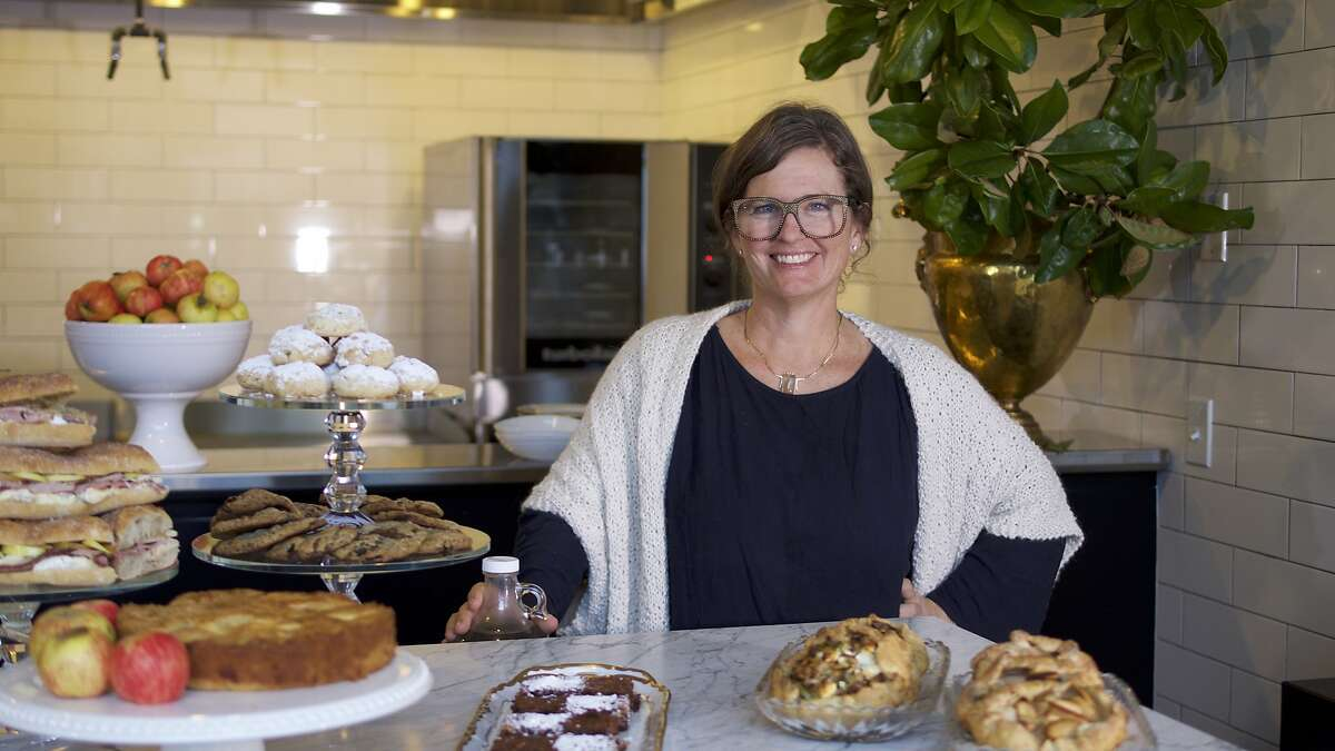 Kendra Kolling, a.k.a. the Farmer's Wife, poses in her newly opened cafe at the Barlow in Sebastopol.