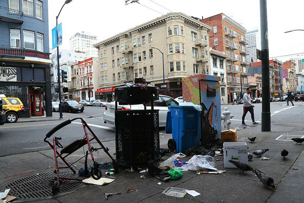 Trash at a drop-off point on the 300 block of Hyde Street in San Francisco, Aug. 29, 2018. The city's new mayor has made cleaner streets a top priority. Residents say it will take much more than a broom to do it. (Jim Wilson/The New York Times)