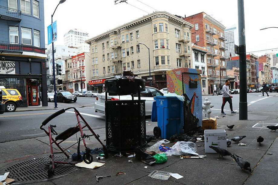 Trash at a drop-off point on the 300 block of Hyde Street in San Francisco, Aug. 29, 2018. The city's new mayor has made cleaner streets a top priority. Residents say it will take much more than a broom to do it. (Jim Wilson/The New York Times) Photo: JIM WILSON, NYT