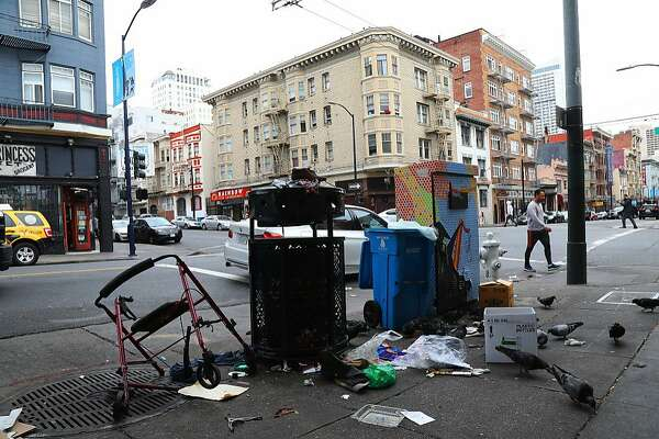 Trash at a drop-off point on the 300 block of Hyde Street in San Francisco, Aug. 29, 2018. The city�s new mayor has made cleaner streets a top priority. Residents say it will take much more than a broom to do it. (Jim Wilson/The New York Times)
