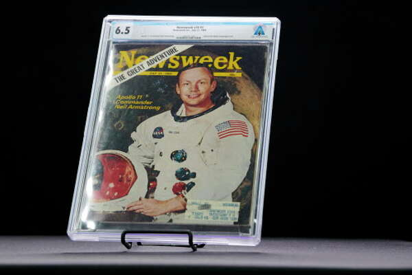 A 1969 copy of Newsweek magazine featuring Neil Armstrong, the first man on the moon, that was mailed to Armstrong, a subscriber, at Heritage Auctions in Dallas, Aug. 10, 2018. The magazine is among the possessions of Armstrong, who died in 2012, that will be auctioned by his sons. (Cooper Neill/The New York Times)