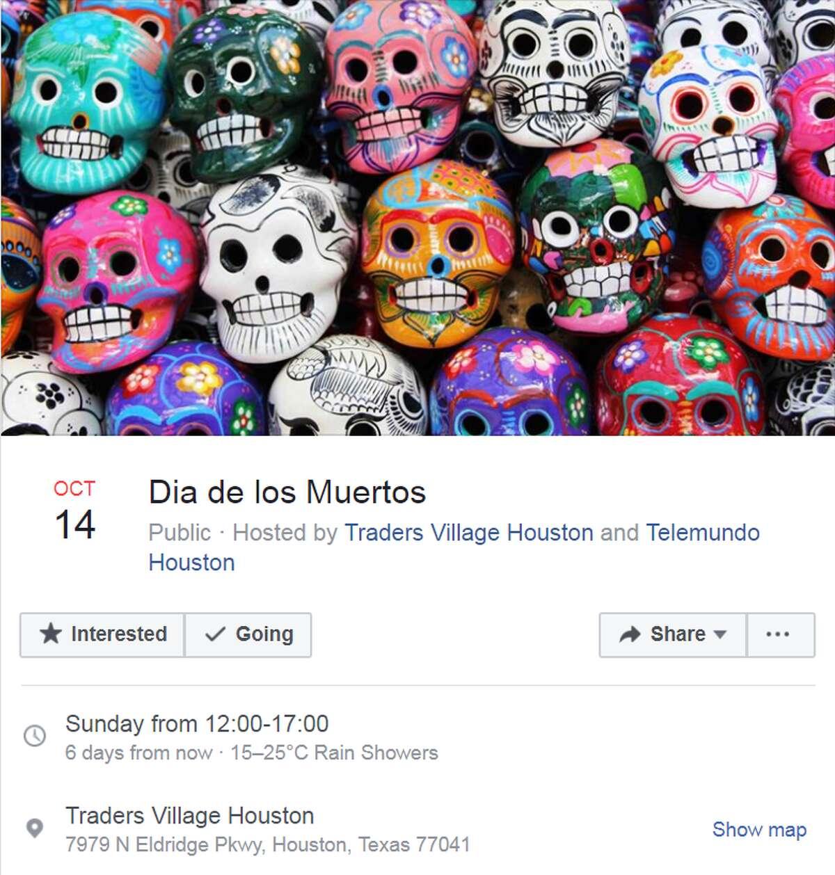 Dia de los Muertos Oct. 14 from 12:00 - 5:00 p.m. Traders Village Houston Hosted by Traders Village Houston and Telemundo Houston More info
