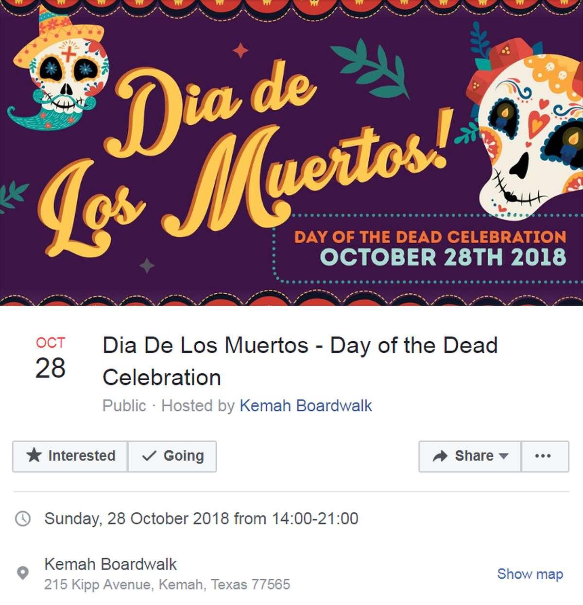 Dia De Los Muertos - Day of the Dead Celebration Oct. 28 from 2:00 - 9:00 p.m. 215 Kipp Avenue Hosted by Kemah Boardwalk More info