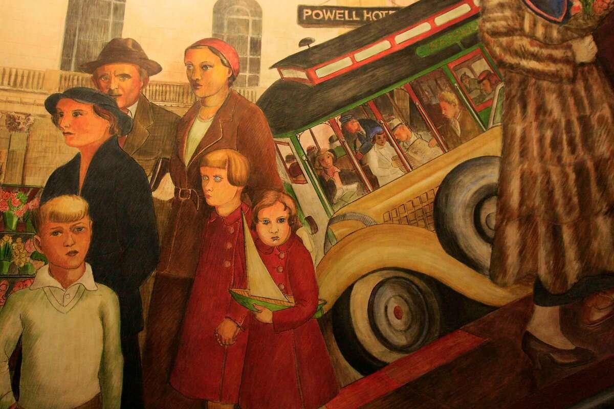 'Powell Street,' a Coit Tower mural by Lucien Labaudt