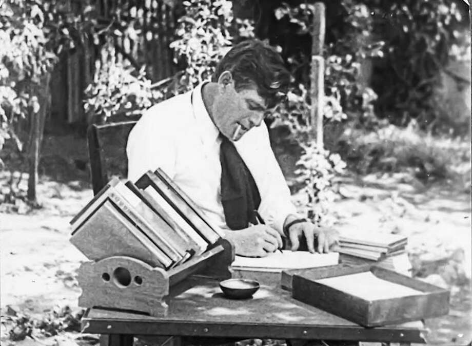 Author Jack London at work. Photo: The Huntington Library, San Marino, Calif.