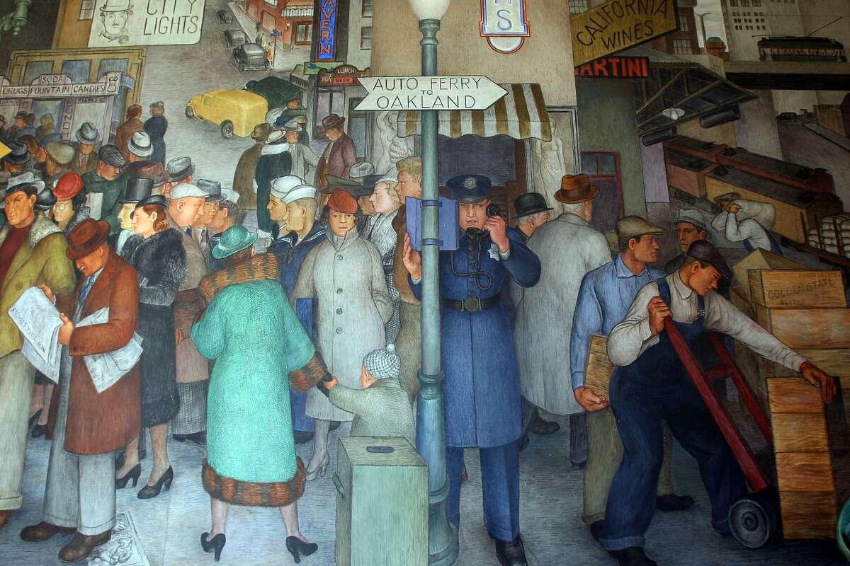 Street scene from Coit Tower mural