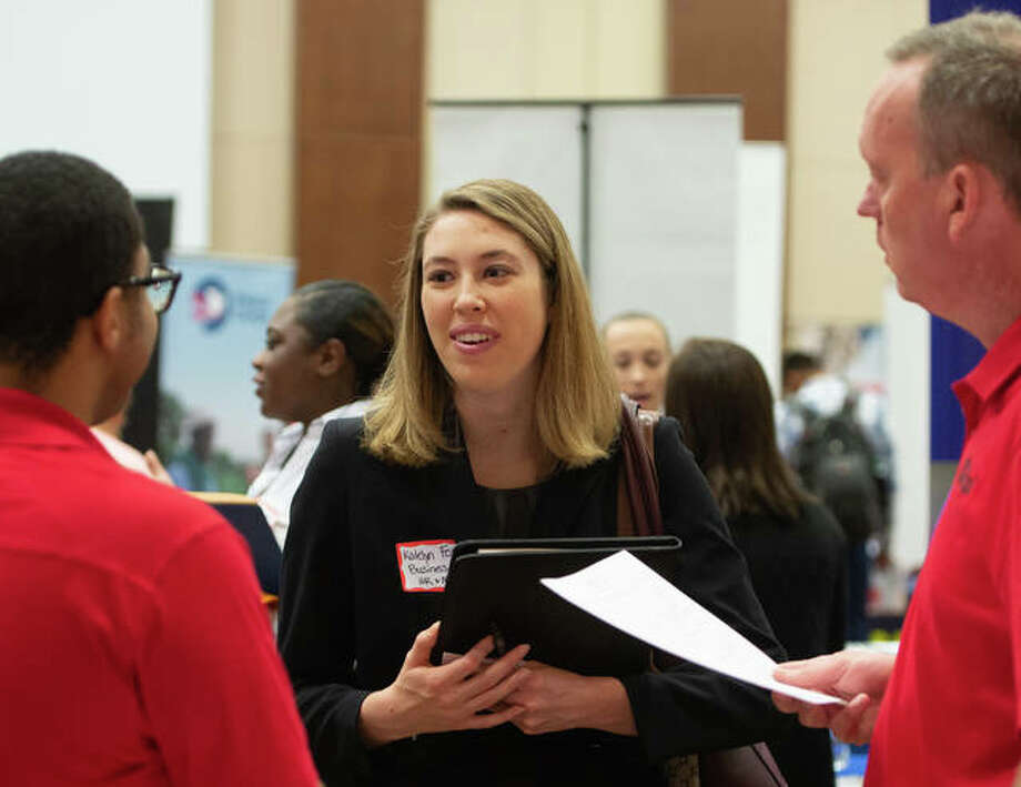 SIUE students from the College of Arts and Sciences, and Schools of Business and Engineering looked for job leads at the Career Development Center's annual October Career Fair. Photo: For The Telegraph