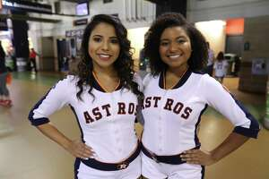 A pair of Astros' Shooting Stars are ready to help cheer on Houston during the ALDS Game 3 viewing party at Minute Maid Park Monday, Oct., 8, 2018.