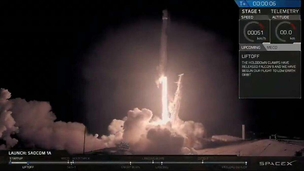 This screen grab made from handout video released by SpaceX shows the launch of the SAOCOM 1A satellite on a SpaceX Falcon 9 rocket from Vandenberg Air Force Base in California on October 7, 2018.