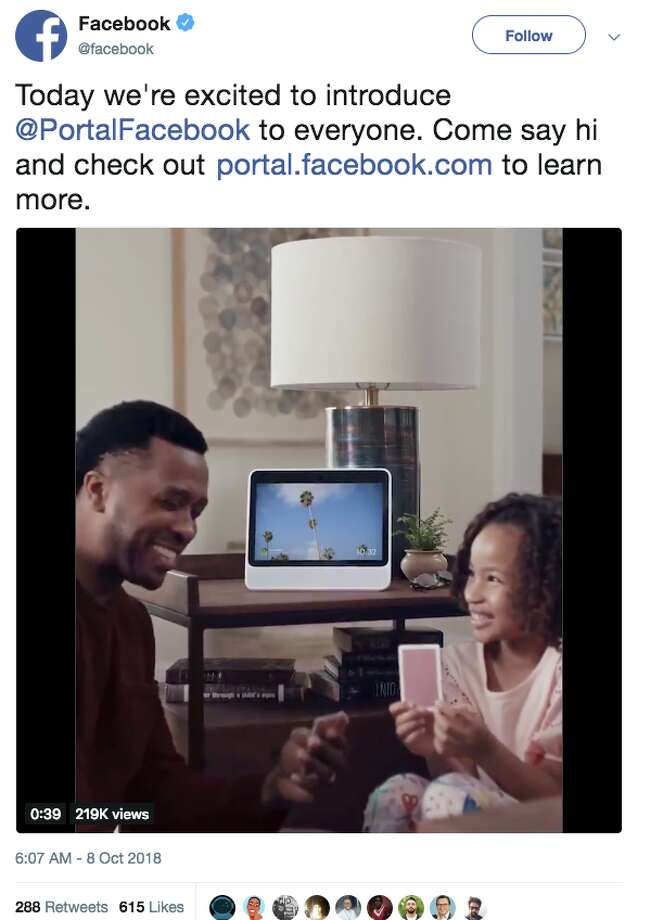 Facebook launched a screen and camera-equipped gadget to make video calls easier Monday, and the social media universe had a lot to say about the first-ever Facebook electronic device to bear the company's brandname. Photo: Twitter Screen Grab