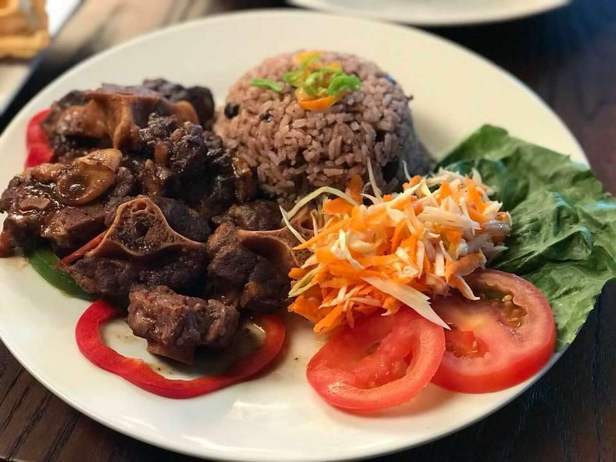 Oxtail with rice and peas is also a Caribbean favorite that customers can find at Uncle Joe's in Bridgeport.