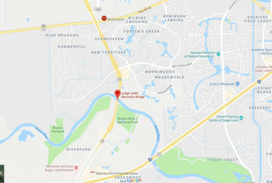 Five people were lifted from the Brazos River after the car they were traveling in flipped off the Grand Parkway at Stavinoha Bridge falling 40 feet and onto the steep embankment below. Photo: Google Maps