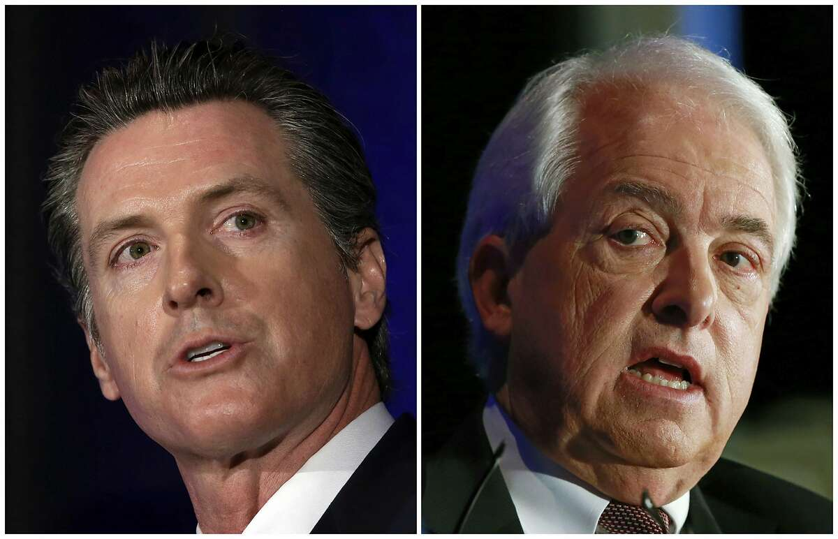 ADVANCE FOR RELEASE SATURDAY, OCT. 6, 2018, AND THEREAFTER -FILE - This combination of March 8, 2018 photos shows Lt. Gov. Gavin Newsom, left, and John Cox in Sacramento, Calif. California's race for governor pits Newsom, a Democrat and former San Francisco mayor, against Republican businessman John Cox. (AP Photos/Rich Pedroncelli, File)