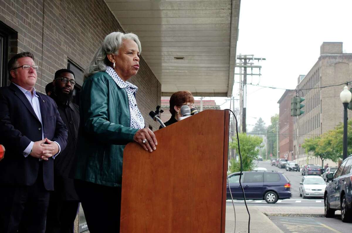Albany County Legislature Deputy Chair Wanda Willingham addresses those gathered for a press conference outside the New York State Department of Motor Vehicles office on South Pearl Street on Monday, Oct. 8, 2018, in Albany, N.Y. Elected officials and community leaders gathered to denounce statements by the Albany County Board of Elections Republican Elections Commissioner, Rachel Bledi, who said that the South End is a ?'bad, dangerous neighborhood?