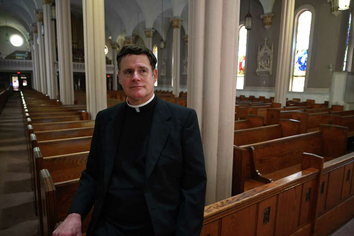 Rev. Jeffrey L'Arche, M.S. speaks to the Times Union at St. Mary's Church in Oct.8, 2018 in Amsterdam, N.Y. L'Arche in June 2021 was put on a list of a list of clergy offenders in Springfield, Massachusetts. He has maintained his innocence in that case. (Skip Dickstein/Times Union)