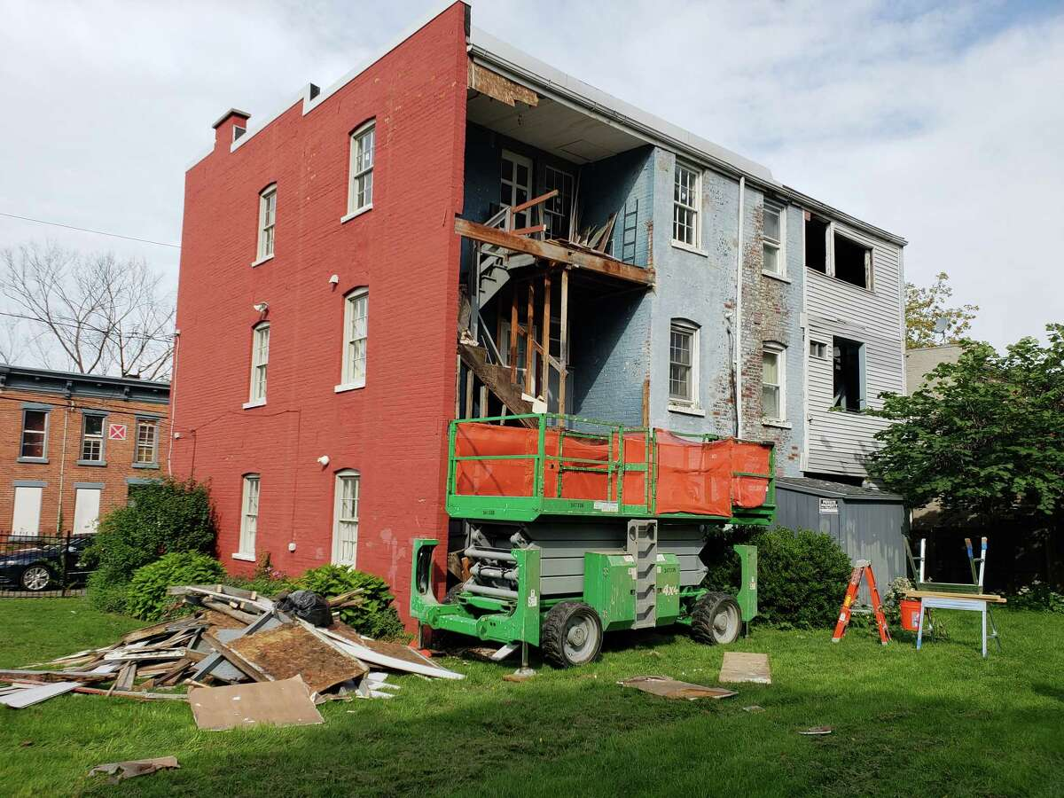 Work at the rear of the Kate Mullany National Historic Site Oct. 4, 2018, in Troy, New York.