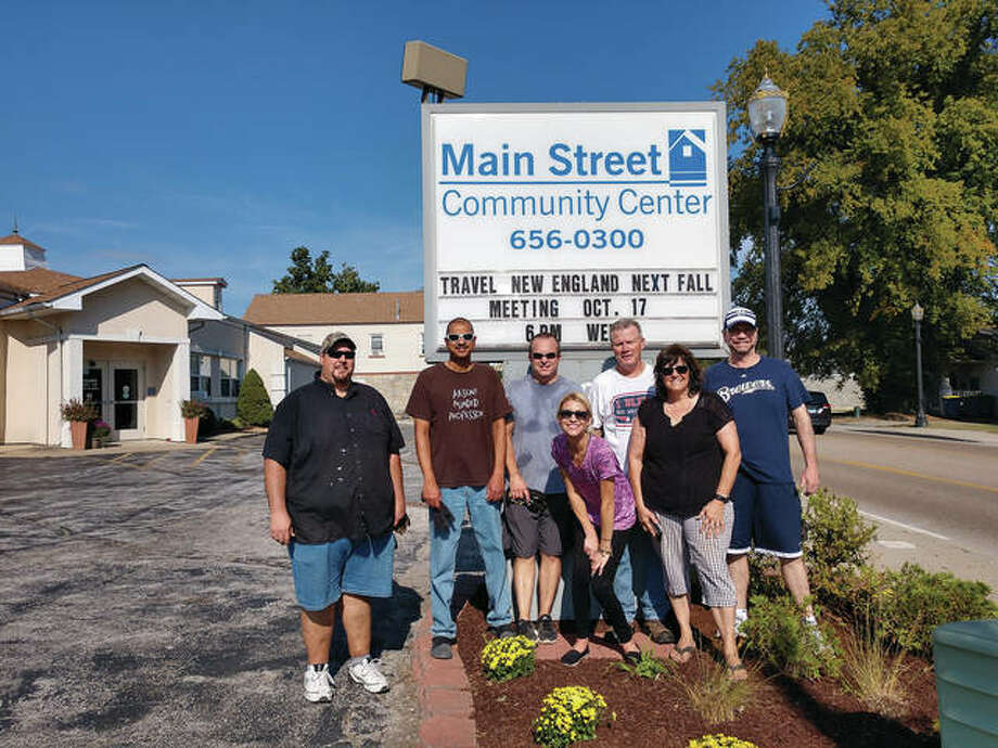 Members of the Goshen Rotary Club outside the Main Street Community Center. Photo: For The Intelligencer