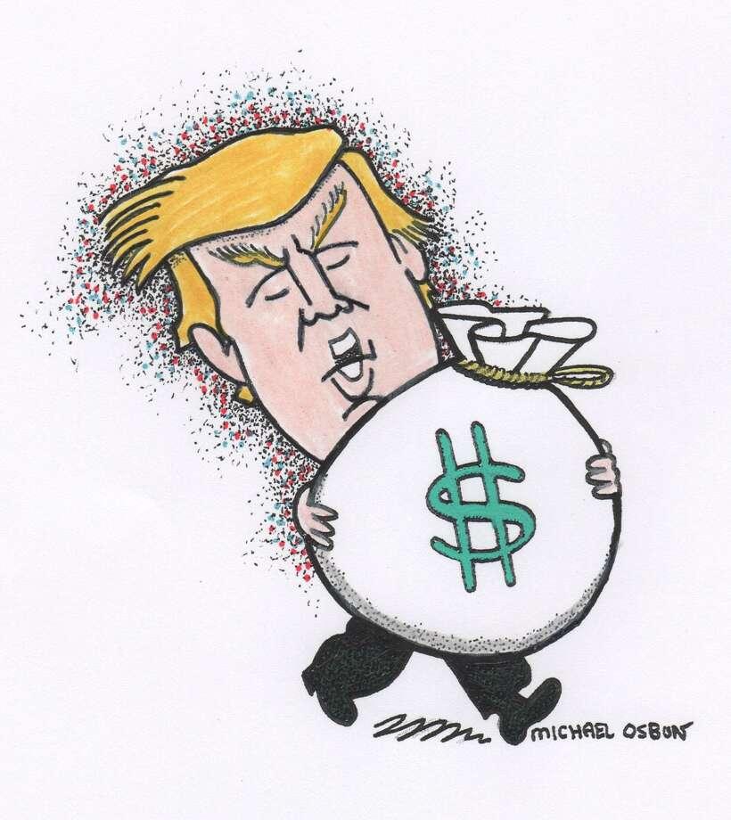This artwork by Michael Osbun refers to Donald Trump's financial status. Photo: Michael Osbun