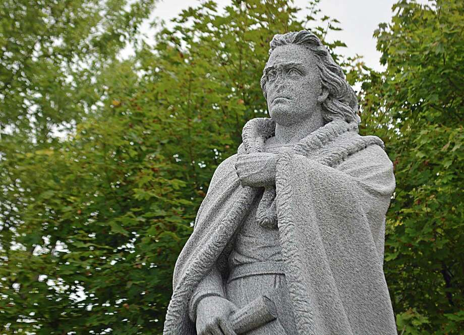 The face of the Christopher Columbus statue at Harbor Park was vandalized a year ago. This week, the Middletown Commission on the Arts will meet to begin the process of looking into sculptors to do the work. The panel will eventually make recommendations to the Public Works Department. Photo: Cassandra Day / Hearst Connecticut Media
