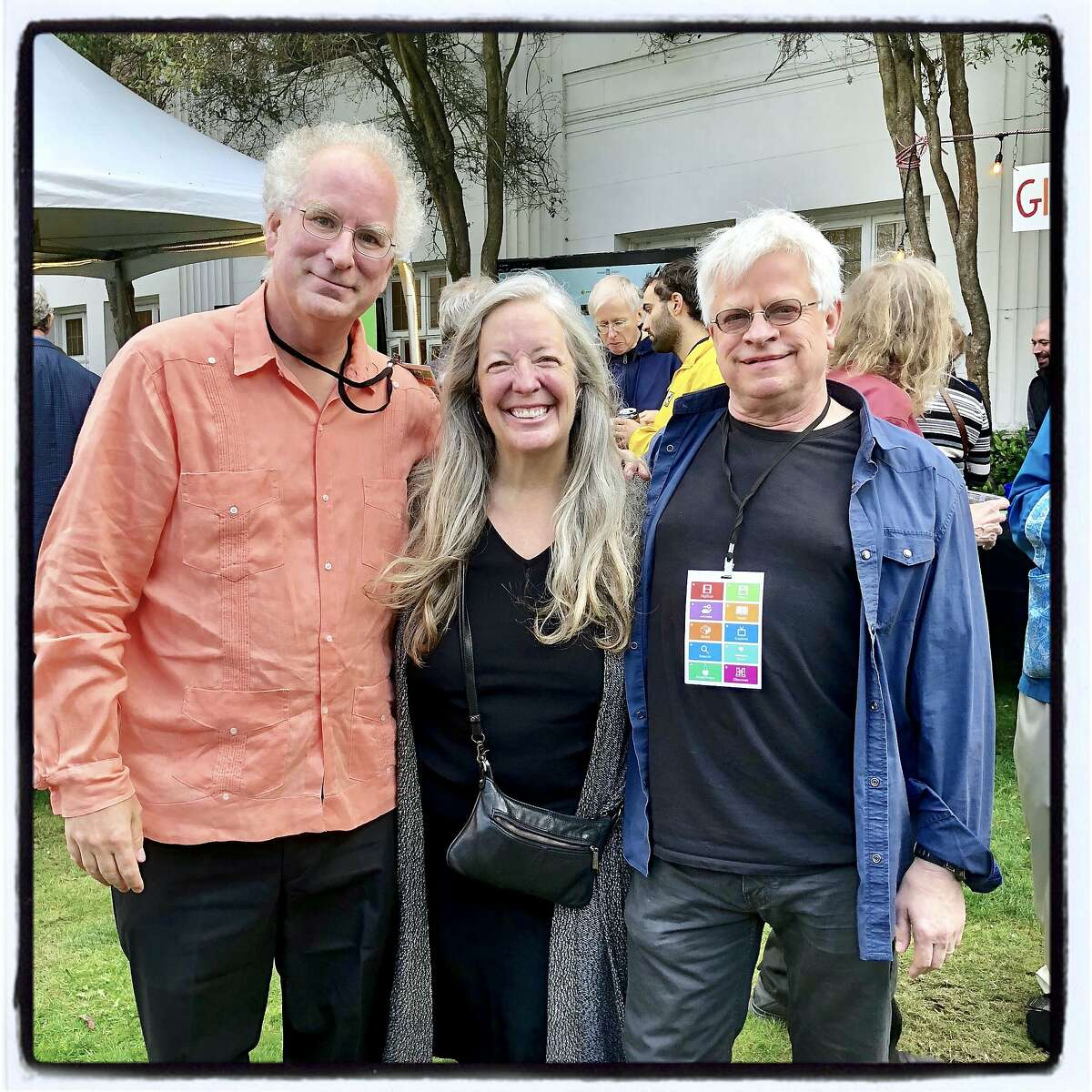 Internet Archive founder Brewster Kahle (left) with his wife, Mary Austin and UCSC Digital Media Professor Rick Prelinger. Oct. 3, 2018