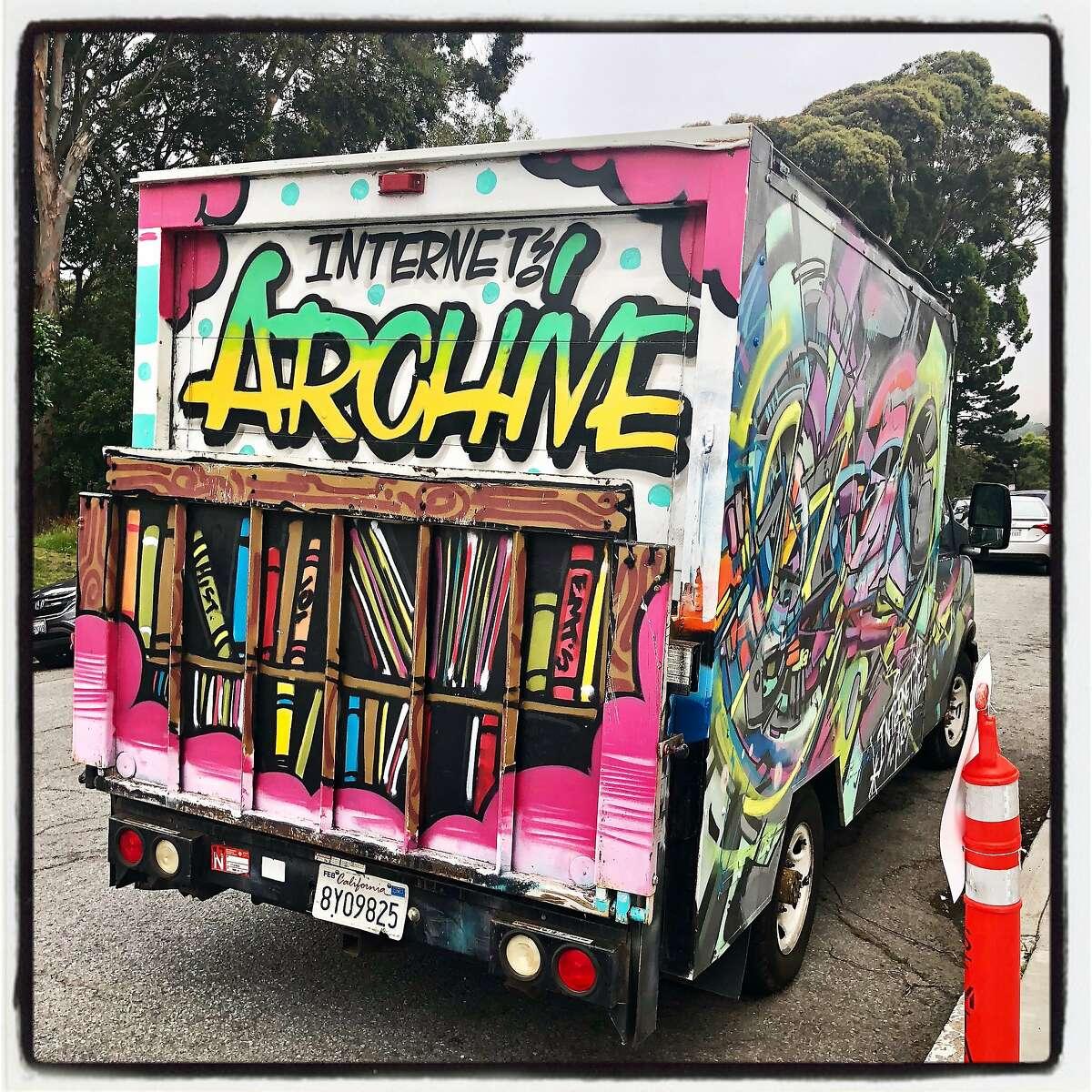The Internet Archive's bookmobile van. Oct. 3, 2018.