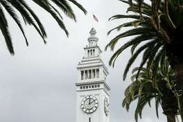 The main tower of the Ferry Building is seen Saturday, March 3, 2018 in San Francisco, Calif.