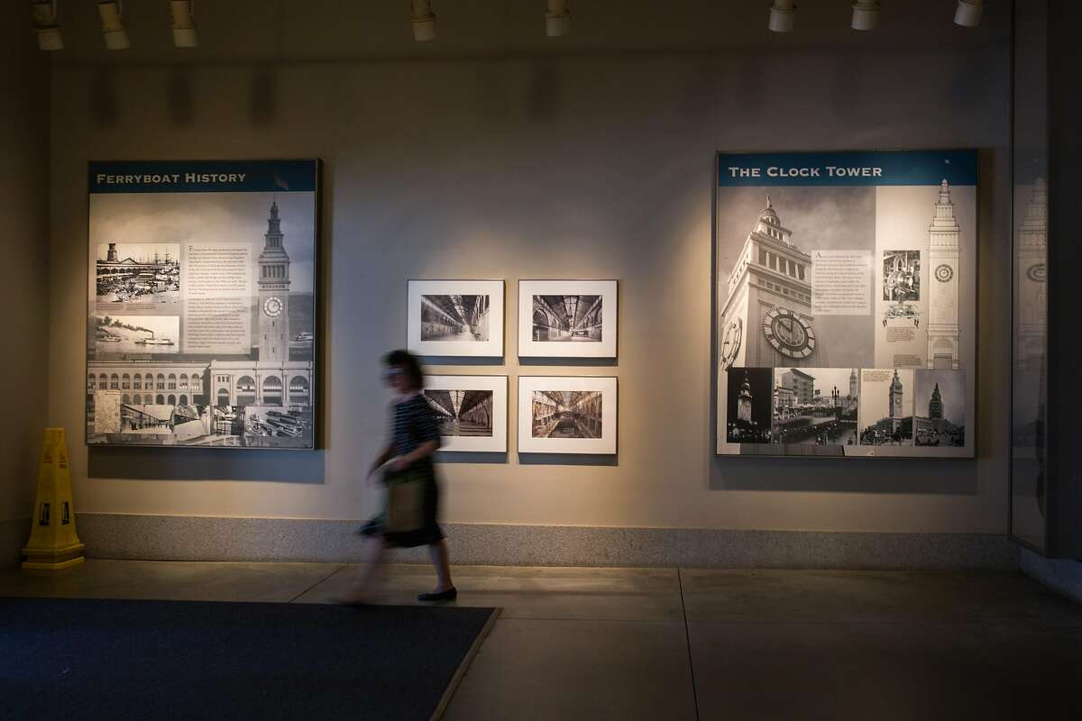 Historical images of the Ferry Building displayed at the entrance of the building. On Monday, October 8, 2018 in San Francisco, Calif.