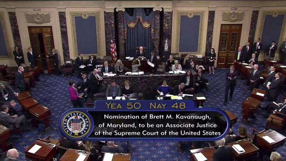 Vice President Mike Pence announces the result of the vote for the confirmation of Brett Kavanaugh to the Supreme Court. This was an argument about outcomes. It is the end that will justify any means. Photo: Associated Press / APTN