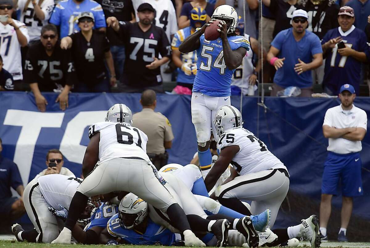 Los Angeles Chargers defensive end Melvin Ingram, above, intercepts a pass from Oakland Raiders quarterback Derek Carr during the second half of an NFL football game against the Oakland Raiders Sunday, Oct. 7, 2018, in Carson, Calif. (AP Photo/Mark J. Terrill)