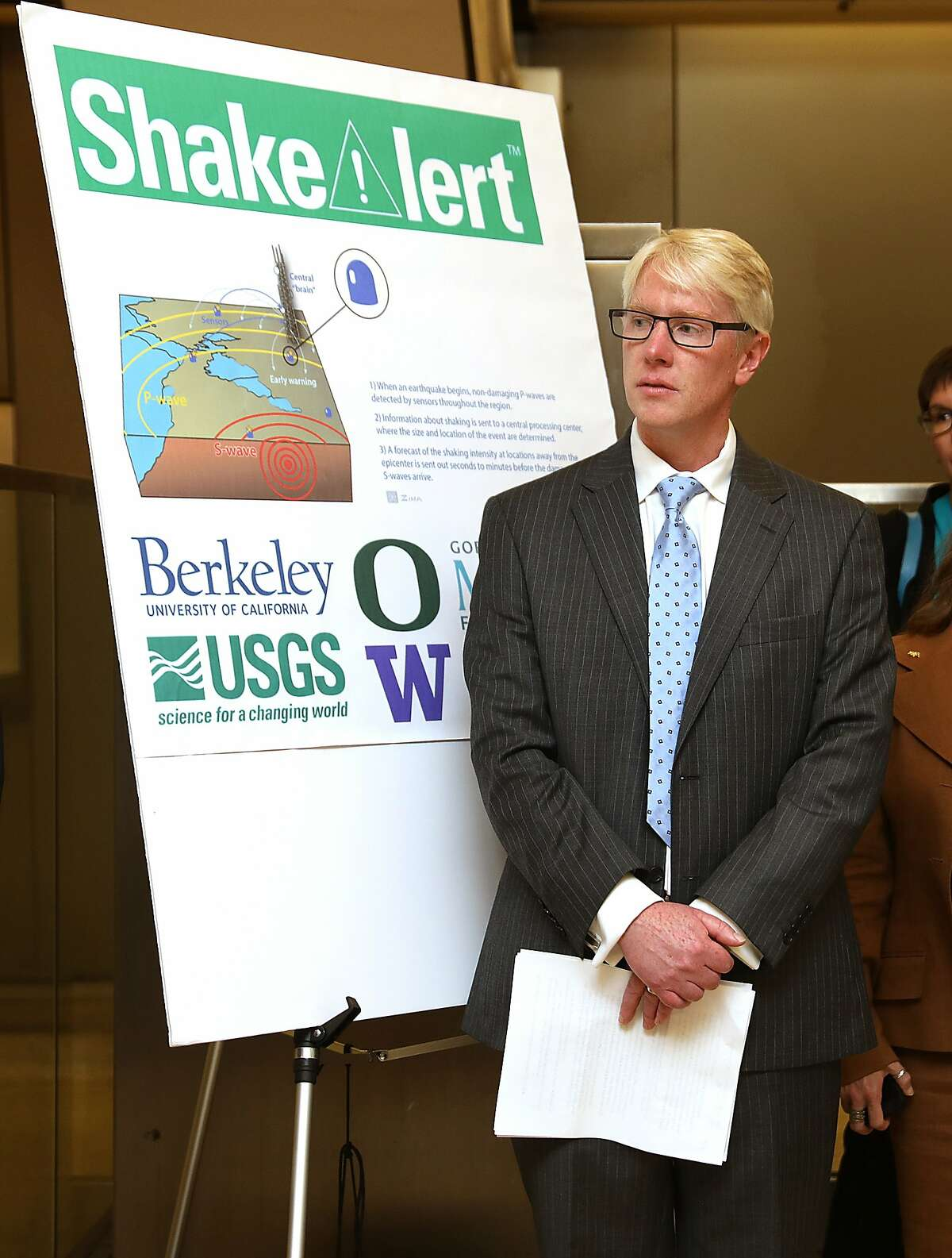 Director of the UC Berkeley Seismological Laboratory one of the originators of the ShakeAlert system talks about the demonstration of BART?•s response to an earthquake early-warning alertat the Downtown Berkeley station on Monday, Oct. 8, 2018 in Berkeley.