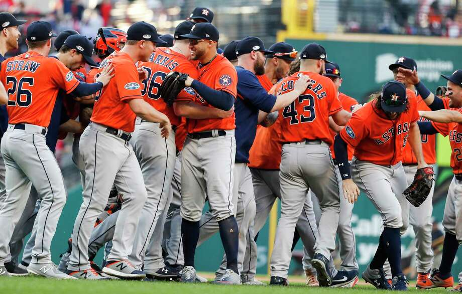 Houston Astros players celebrate their 11-3 win over the Cleveland Indians in Game 3 of the American League Division Series go sweep the best-of-five series at Progressive Field on Monday, Oct. 8, 2018, in Cleveland. Photo: Karen Warren, Staff Photographer / © 2018 Houston Chronicle