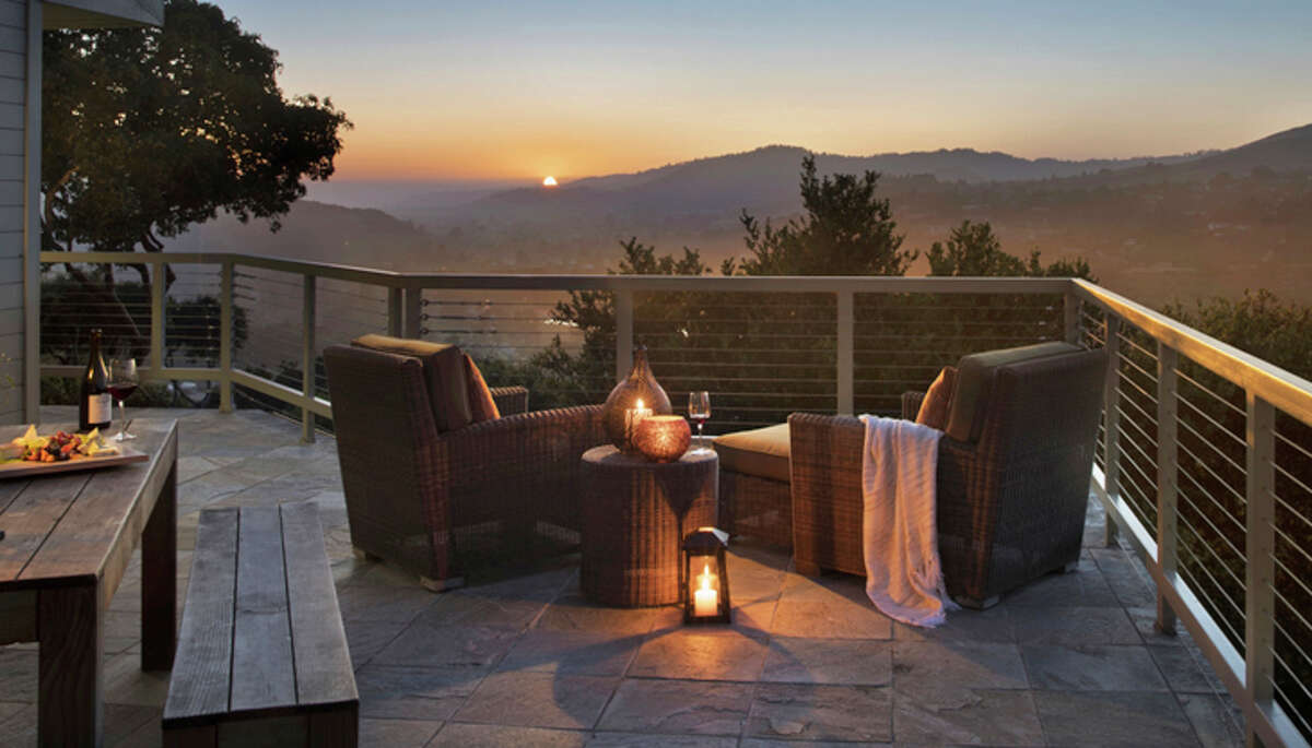 Balcony with a sunset view at Carmel Valley Ranch.