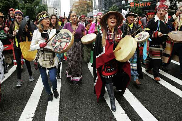 A group marches from Westlake Park to City Hall to mark the annual Indigenous People's Day Celebration, Monday, October 8, 2018. The event ended with lunch and speeches.