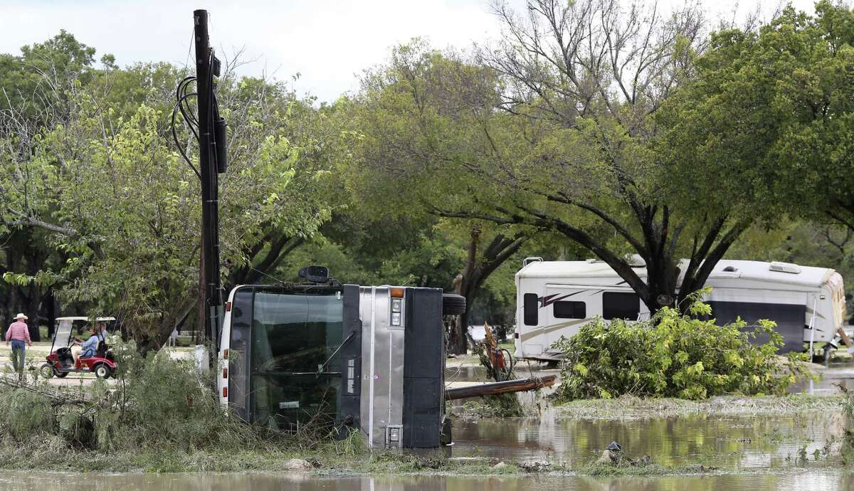 Recreation vehicles are seen strewn about Monday at the South Llano River RV Park & Resort in Junction.