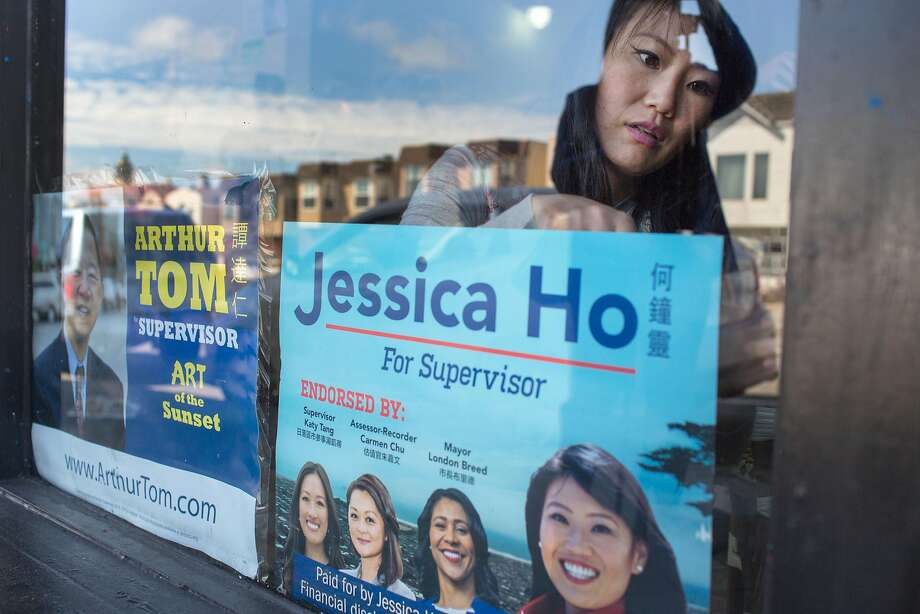 San Francisco District Four supervisor candidate Jessica Ho, during a merchant walk on Taraval Street on Thursday, September 14, 2018. Ho visited local businesses, met with owners and workers, and placed her campaign poster on display at their stores or restaurants. Photo: Jana Asenbrennerova / Special To The Chronicle