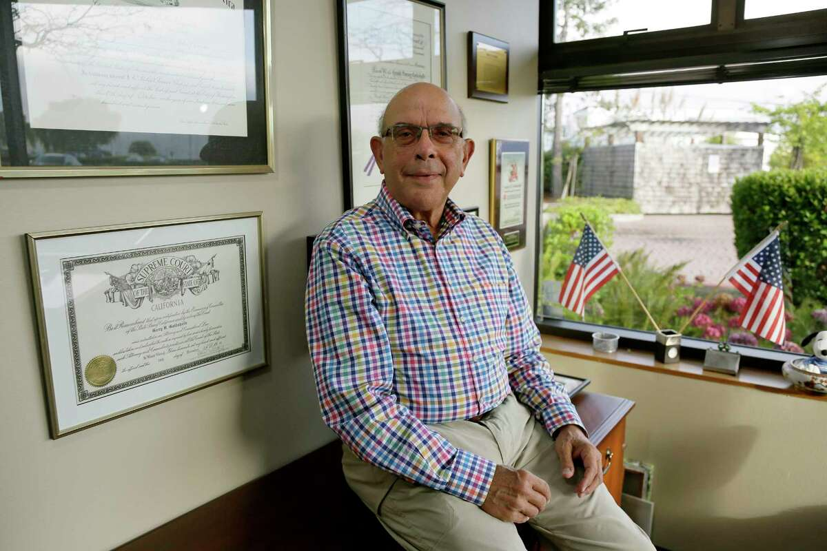 In this Tuesday, Sept. 25, 2018, photo Gerry Goldsholle poses for a photo in his office in Sausalito, Calif. Goldsholle just celebrated his 78th birthday, and he's still working. Close to one in five Americans who's 65 or older is still working, the highest percentage in more than half a century. (AP Photo/Eric Risberg)