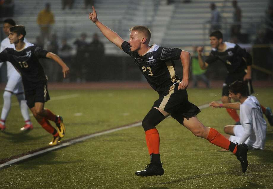 Trumbull's Justin Horvath celebrates scoring a goal during the first half of the Eagles' boys soccer game with crosstown rival St. Joseph at Trumbull High School in Trumbull. Conn. on Monday, October 8, 2018. Photo: Brian A. Pounds / Hearst Connecticut Media / Connecticut Post
