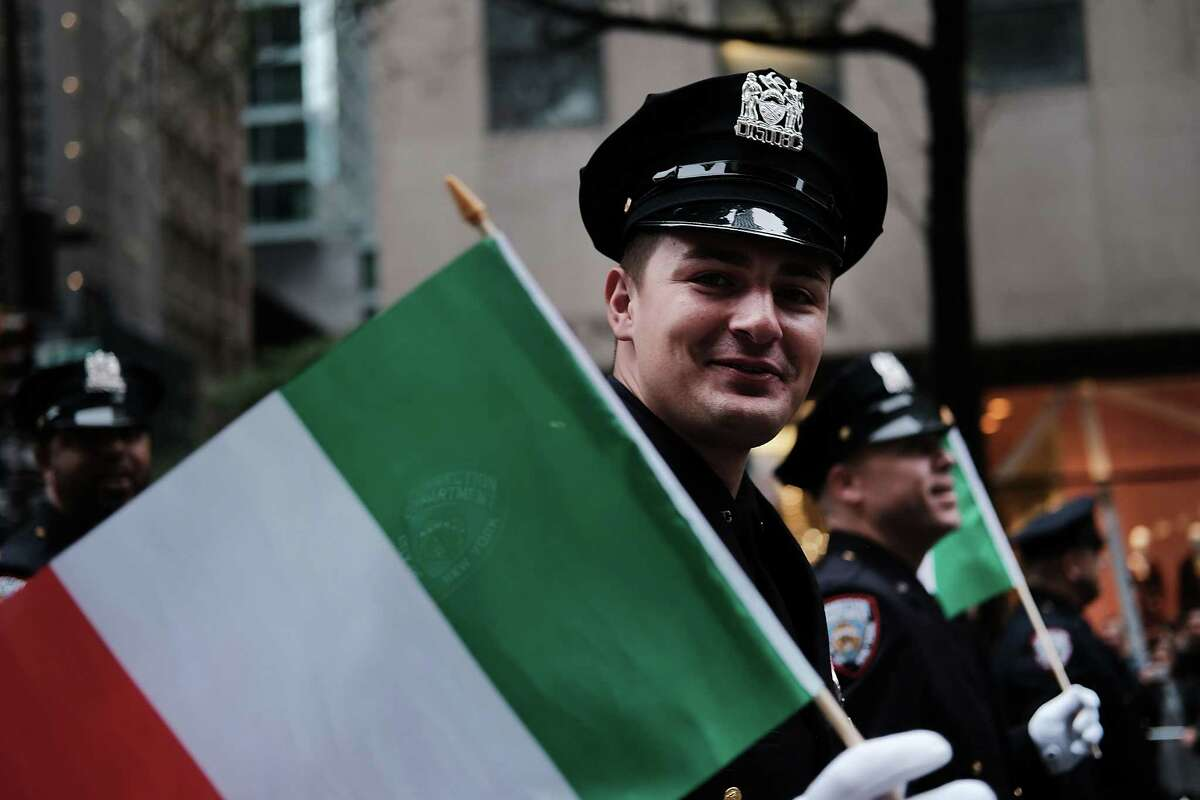 NEW YORK, NY - OCTOBER 08: A corrections officer marches in the annual Columbus Day parade on October 8, 2018 in New York City. Organized by the Columbus Citizens Foundation, the parade is billed as the world's largest celebration of Italian-American heritage and culture and has been run since 1929. The parade runs from 44th Street to 72nd Street and is also used as a showcase for local politicians, civic groups, marching bands and city workers. (Photo by Spencer Platt/Getty Images) ***BESTPIX***