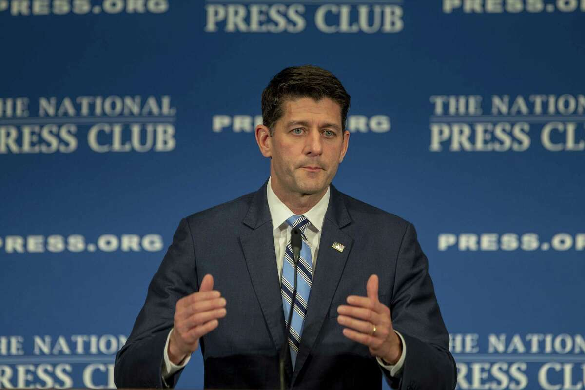 """WASHINGTON, DC - OCTOBER 08: Speaker of the House Paul Ryan (R-WI) speaks at the National Press Club Newsmaker event on October 8, 2018 in Washington, DC. Ryan delivered remarks on """"how Americans are 'Better Off Now,' highlighting the clear contrast between Republican policies and the Democrats' vision for America."""" (Photo by Tasos Katopodis/Getty Images)"""