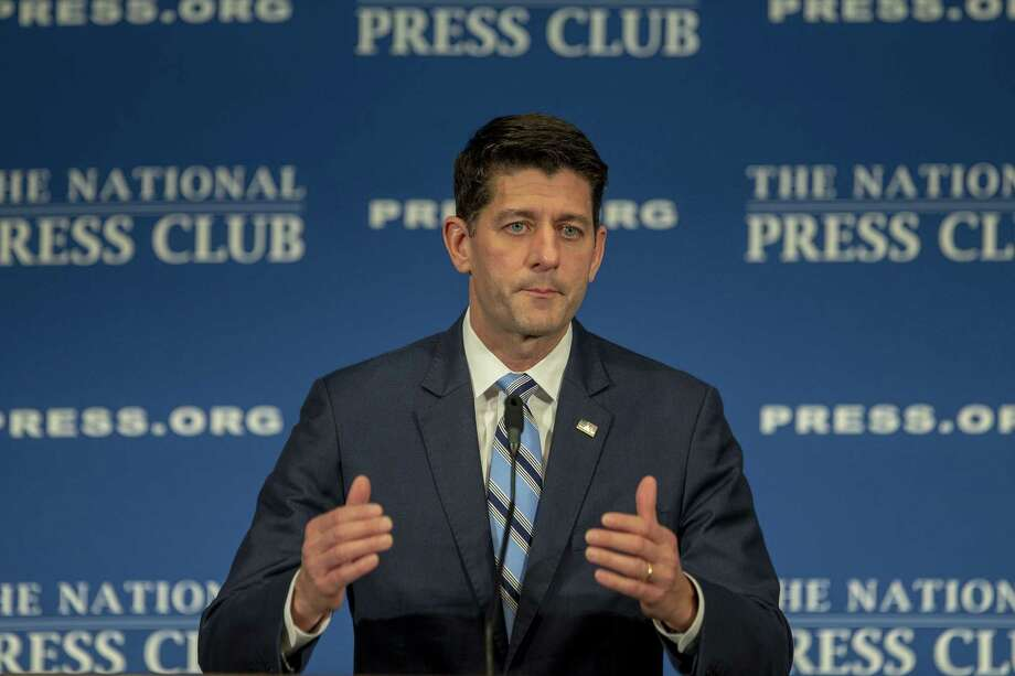 "WASHINGTON, DC - OCTOBER 08: Speaker of the House Paul Ryan (R-WI) speaks at the National Press Club Newsmaker event on October 8, 2018 in Washington, DC. Ryan delivered remarks on ""how Americans are 'Better Off Now,' highlighting the clear contrast between Republican policies and the Democrats' vision for America."" (Photo by Tasos Katopodis/Getty Images) Photo: Tasos Katopodis / 2018 Getty Images"