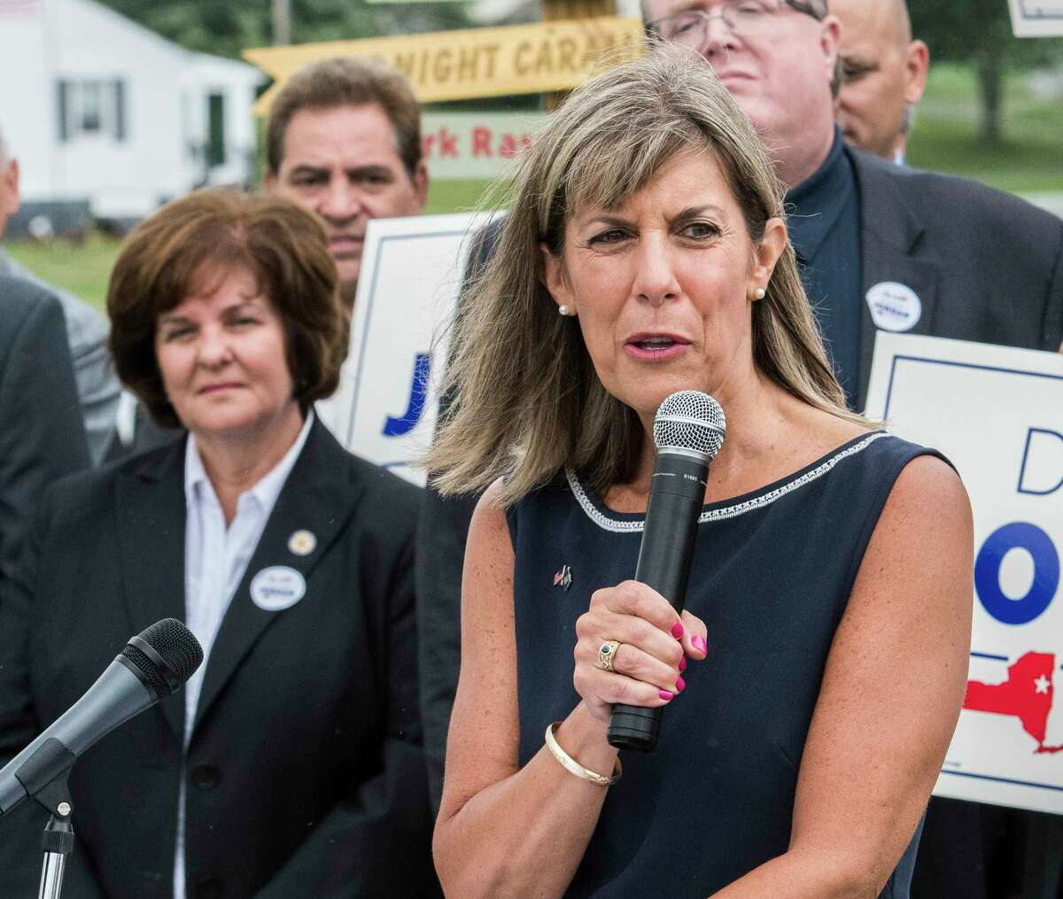 As Senator Kathy Marchione, left watched, Daphne Jordan announced her intention to run for the State Senate Thursday July 26, 2018 at Hayner's Food and Ice-cream shop in Halfmoon, N.Y. (Skip Dickstein/Times Union)