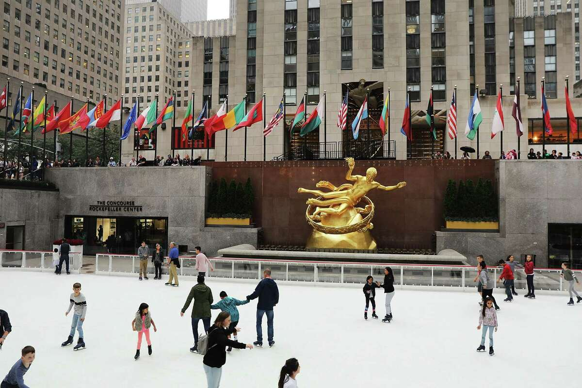 NEW YORK, NY - OCTOBER 08: People skate on Rockefeller Center's ice rink on its opening day of the season on October 8, 2018 in New York City. The historic ice rink, which will close again in April, is one of Manhattan's oldest and most popular tourist destinations. (Photo by Spencer Platt/Getty Images)