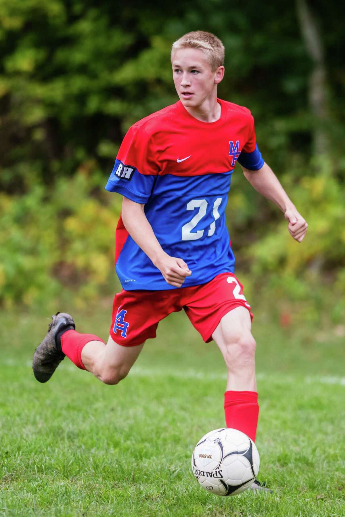 Maple Hill's Rian Jewett handles the ball as Maple Hill faced off against Scotia during the Maple Hill Soccer Tournament at Maple Hill in Schodack, NY Monday, October 8th, 2018. Photo by Eric Jenks