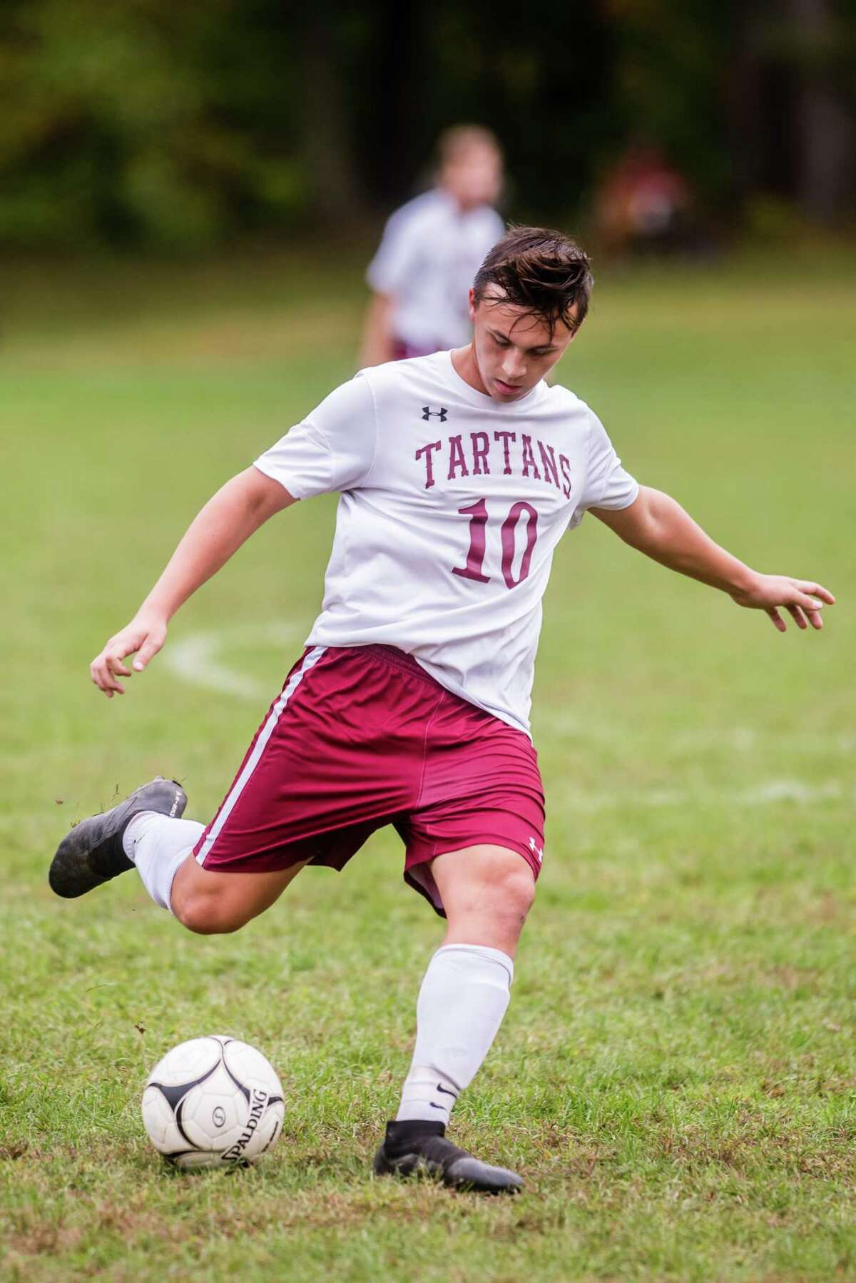Scotia's Jared O'Connor kicks the ball as Maple Hill faced off against Scotia during the Maple Hill Soccer Tournament at Maple Hill in Schodack, NY Monday, October 8th, 2018. Photo by Eric Jenks