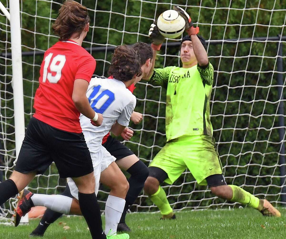 Niskayuna goalie Jimmy Joyce stops a shot on goal during Saturday's game against Albany High Oct. 6, 2018 in Niskayuna, NY. (John Carl D'Annibale/Times Union)