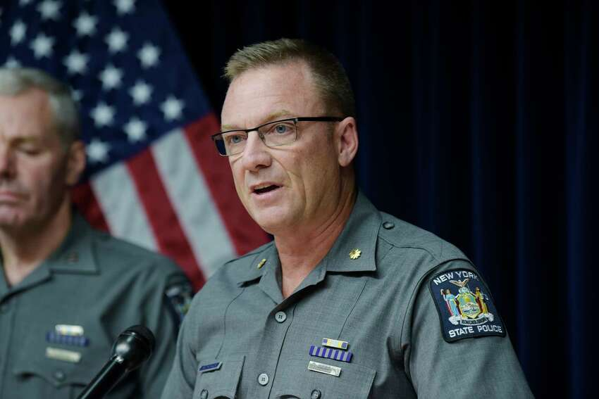 New York State Police Major Robert Patnaude addresses the media during a press conference on Oct. 8, 2018, in Latham, N.Y. (Paul Buckowski/Times Union)