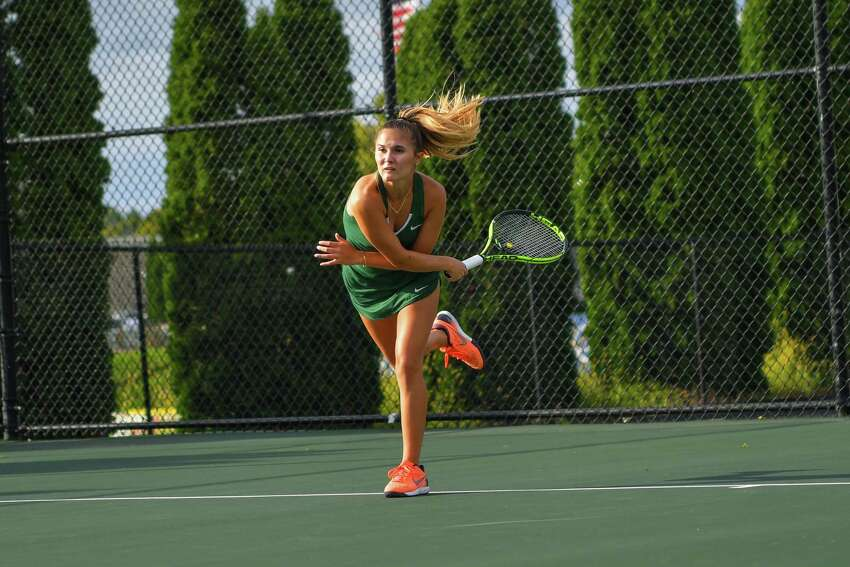 Averill Park High School graduate Jacqueline Bornt of the Hudson Valley women's tennis team. (Courtesy of Hudson Valley Community College)